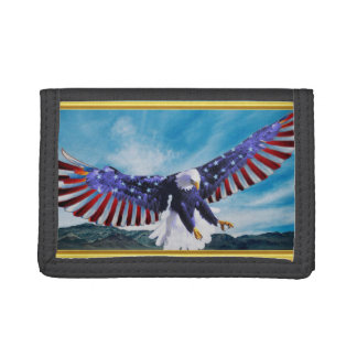 American flag Eagle flying in the sky gold foil Trifold Wallets