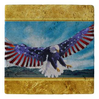 American flag Eagle flying in the sky gold foil Trivet