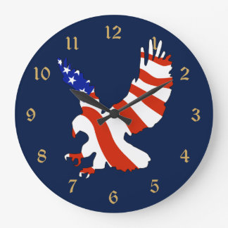 American Flag Eagle Large Clock