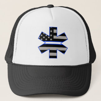 American Flag EMS Star of Life White Line Decal.jp Trucker Hat