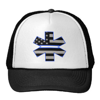 American Flag EMS Star of Life White Line Decal.jp Trucker Hat