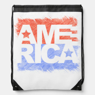 AMERICAN FLAG Faded Drawstring Bag