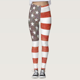 American Flag Faded Old Grunge Vintage Style Leggings