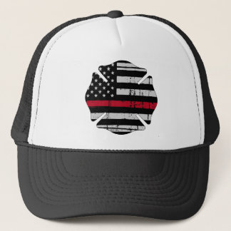 American Flag Fireman Cross Thin Red Line Trucker Hat