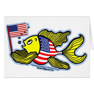 American Flag Fish Card