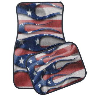 American flag flames car mat