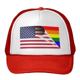 American Flag Gay Pride Rainbow Flag Trucker Hat
