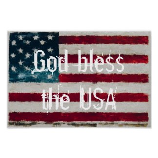 American Flag God bless the USA Poster Wall Art