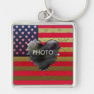 American Flag Golden Heart Frame Premium Keychain