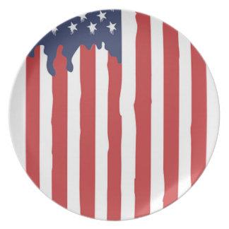 American Flag Graffiti Usa United Plate