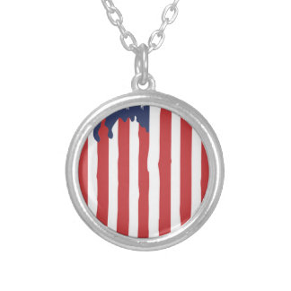 American Flag Graffiti Usa United Silver Plated Necklace