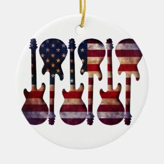 American Flag Guitar Art Ceramic Ornament