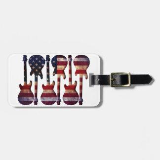 American Flag Guitar Art Luggage Tag