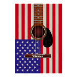 American Flag Guitar Poster