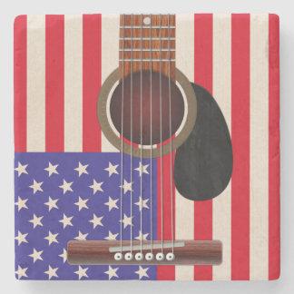 American Flag Guitar Stone Coaster