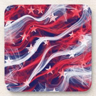 American flag Hard Plastic coasters with cork back