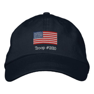 American Flag Hat with Modifiable Troop # below Embroidered Baseball Cap