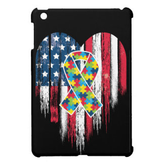 American Flag Heart Autism Awareness Cover For The iPad Mini