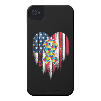 American Flag Heart Autism iPhone 4 Cover
