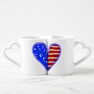 American flag heart bride and groom mugs