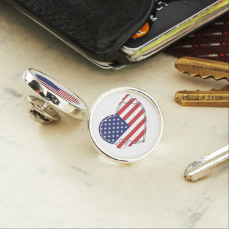 American Flag Heart Lapel Pin