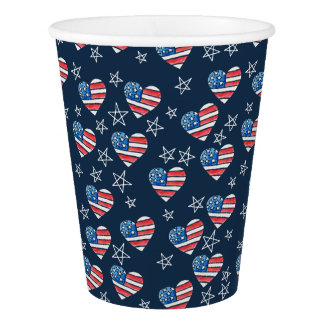 American Flag Heart Paper Cup