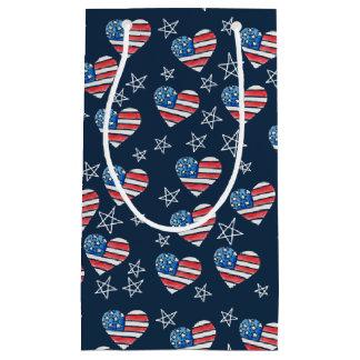 American Flag Heart Small Gift Bag