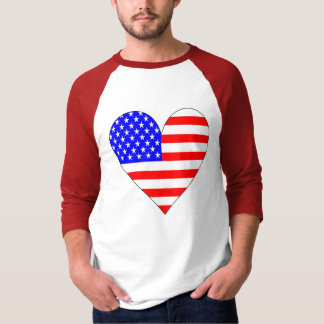American Flag Heart Stars and Strips T-Shirt