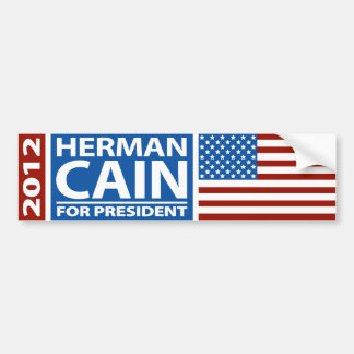 American Flag Herman Cain for President 2012 Bumper Sticker