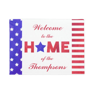 American Flag - Home - Custom Family Name Doormat