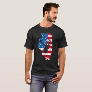American Flag Illinois Deer Hunting Distressed T-Shirt