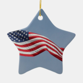 American Flag in Blue Sky Christmas Ornament