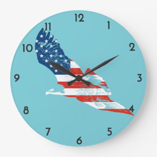 American Flag in Eagle Large Clock