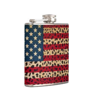 American Flag in Leopard Spot Print Design Flask