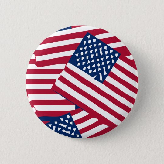 American flag in overlap 2 inch round button