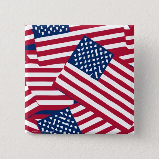 American flag in overlap 2 inch square button