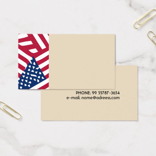 American flag in overlap business card