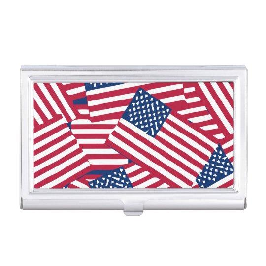 American flag in overlap business card holder