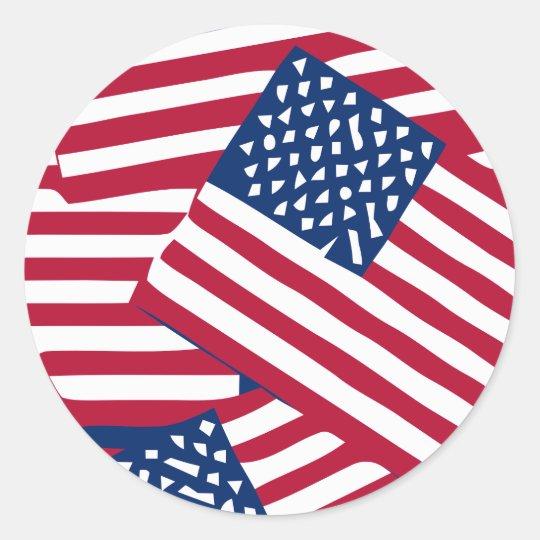 American flag in overlap classic round sticker