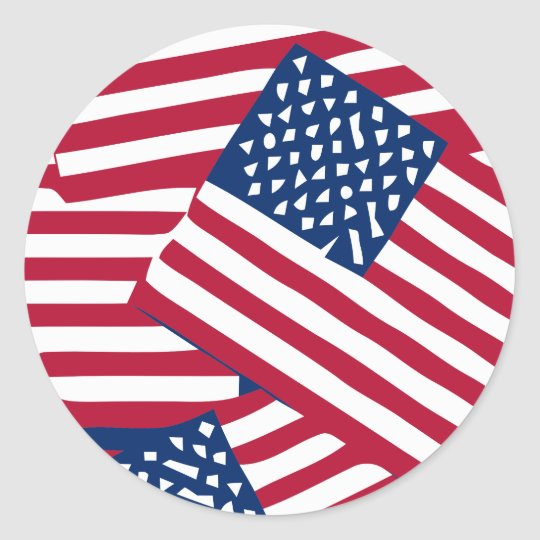 American flag in overlap classic round sticker