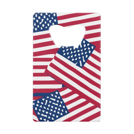 American flag in overlap credit card bottle opener
