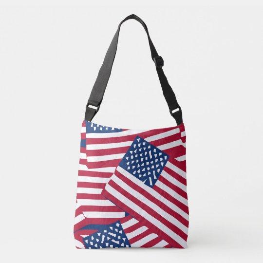 American flag in overlap crossbody bag