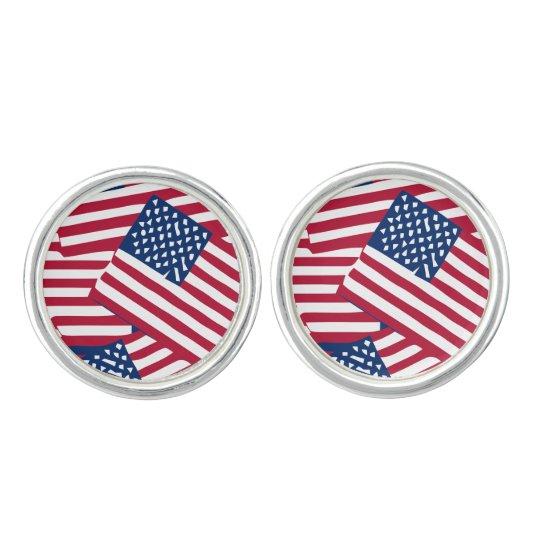 American flag in overlap cufflinks