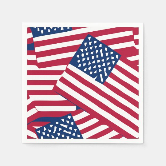 American flag in overlap disposable napkins