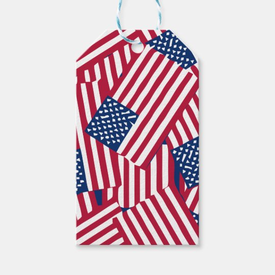 American flag in overlap gift tags