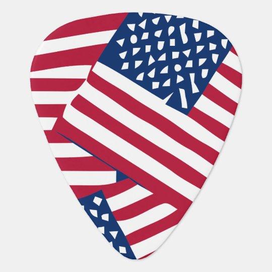 American flag in overlap guitar pick