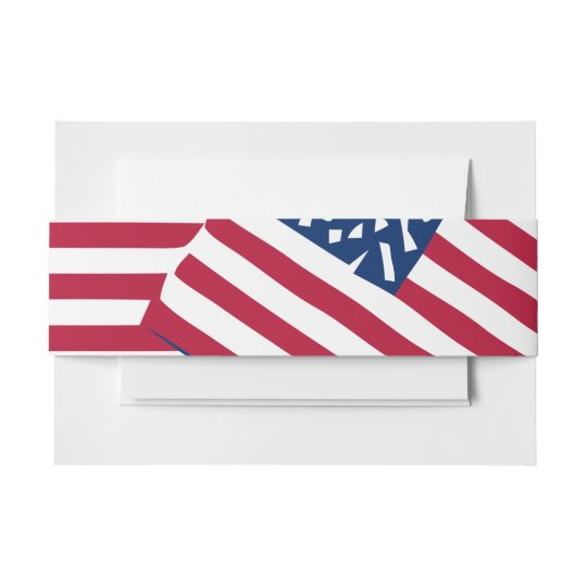 American flag in overlap invitation belly band