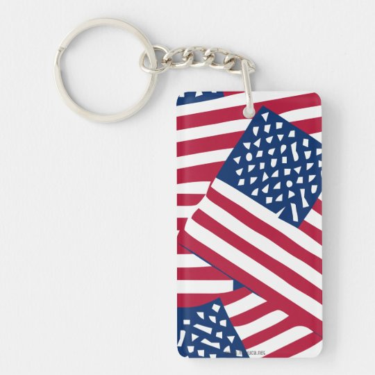 American flag in overlap keychain