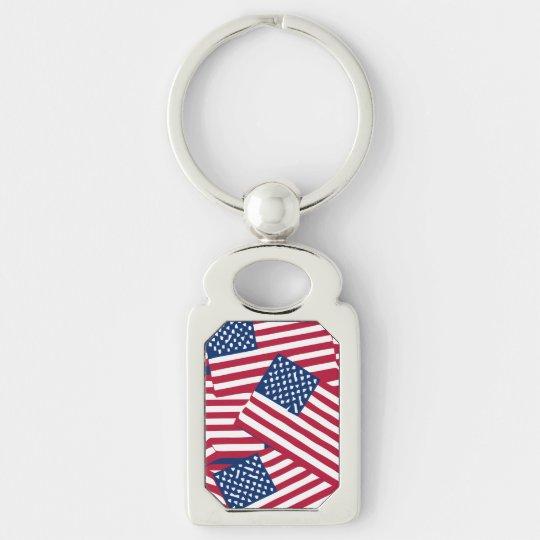 American flag in overlap keychain