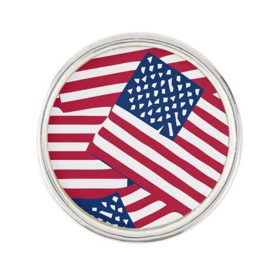 American flag in overlap lapel pin